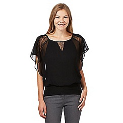Star by Julien Macdonald - Designer black floral lace blouson top
