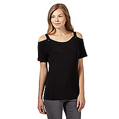 Star by Julien Macdonald - Black exposed shoulder jersey top