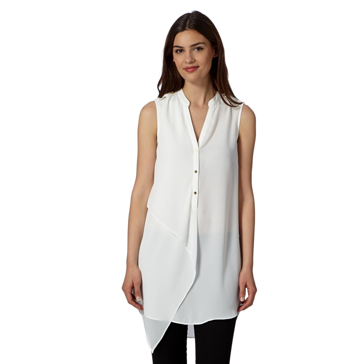 7f6edb6598b Star by Julien Macdonald Designer ivory asymmetric longline shirt on ...