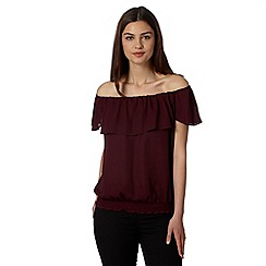 Star by Julien MacDonald - Designer wine shirred bardot top