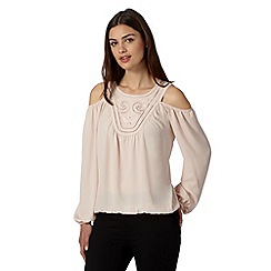 Star by Julien Macdonald - Designer light pink embroidered cold shoulder top