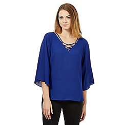 Star by Julien Macdonald - Royal blue fluted sleeve gypsy blouse