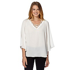 Star by Julien Macdonald - Designer ivory fluted sleeve gypsy blouse