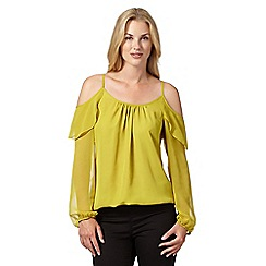 Star by Julien Macdonald - Designer lime ruffle cold shoulder top