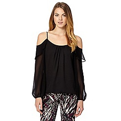 Star by Julien MacDonald - Designer black ruffle cold shoulder top