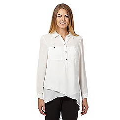 Star by Julien MacDonald - Ivory military asymmetric blouse
