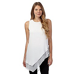 Star by Julien Macdonald - Ivory buckle neck asymmetric hem top