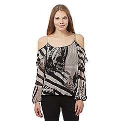 Star by Julien Macdonald - Brown animal print cold shoulder top