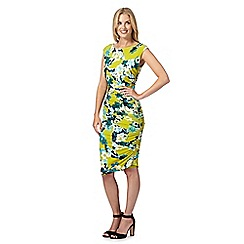 Star by Julien MacDonald - Designer lime floral mosaic ruched dress