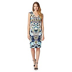 Star by Julien MacDonald - Designer blue floral mosaic print scuba dress