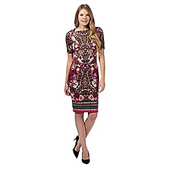 Star by Julien MacDonald - Dark pink mirrored floral graphic scuba dress