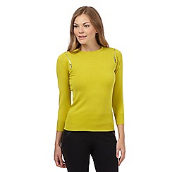 Star by Julien MacDonald - Lime zip shoulder jumper