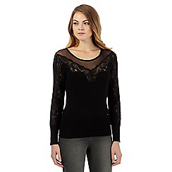 Star by Julien Macdonald - Black lace mesh insert jumper
