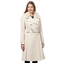 Star by Julien Macdonald - Cream faux fur collar military coat