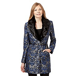 Star by Julien Macdonald - Blue floral faux fur collar jacket