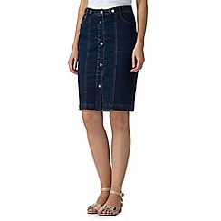 Star by Julien Macdonald - Designer mid blue denim button skirt