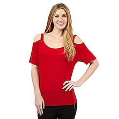Star by Julien Macdonald - Red cold shoulder top