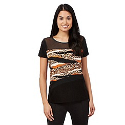 Star by Julien Macdonald - Orange animal print sheer yoke top