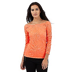 Star by Julien Macdonald - Orange lace boat neck top