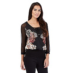 Star by Julien Macdonald - Black floral bubble hem mock layered top
