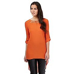 Star by Julien Macdonald - Orange cut out neck dipped hem top