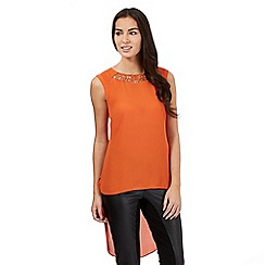 Star by Julien Macdonald - Orange sleeveless cutout neck dipped hem top