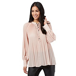 Star by Julien Macdonald - Light pink pleated tie neck top