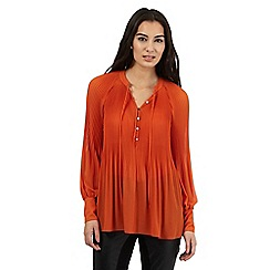 Star by Julien Macdonald - Orange pleated tie neck top