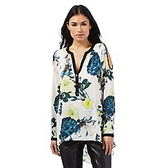 Star by Julien Macdonald - White floral print cold shoulder top