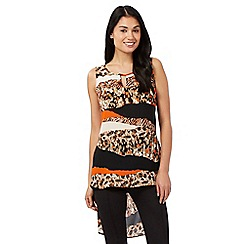 Star by Julien Macdonald - Orange animal print dipped hem top