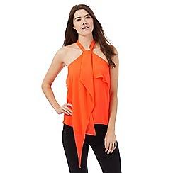 Star by Julien Macdonald - Bright orange halter neck front ruffle top