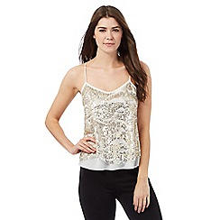 Star by Julien Macdonald - White and gold sequinned cami top