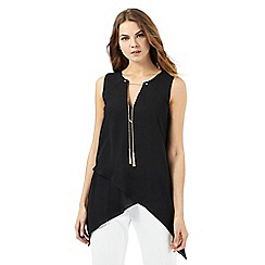 Star by Julien Macdonald - Black gold chain asymmetric top