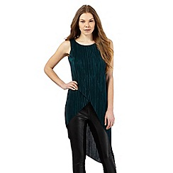 Star by Julien Macdonald - Dark green plisse asymmetric hem top