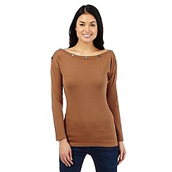Star by Julien Macdonald - Brown stud neck jumper
