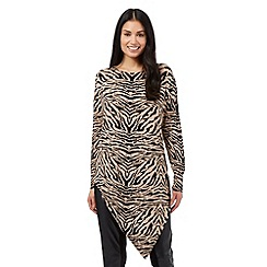 Star by Julien Macdonald - Brown animal print asymmetric jumper