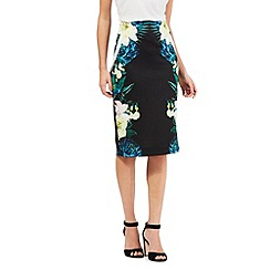 Star by Julien Macdonald - Black placement floral print skirt