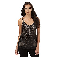 Star by Julien Macdonald - Black patterned lace cami top