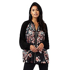 Star by Julien Macdonald - Black floral print zip front blouse