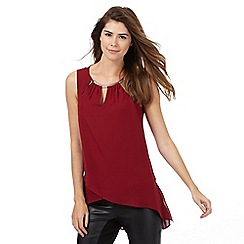 Star by Julien Macdonald - Dark red bar trim neck top