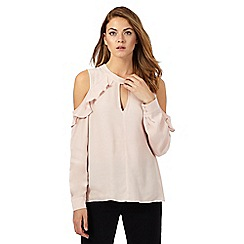Star by Julien Macdonald - Light pink ruffle cold shoulder top