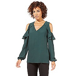 Star by Julien Macdonald - Dark green ruffle cold shoulder top