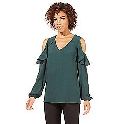 Star by Julien Macdonald - Dark green ruffle cold shoulder top