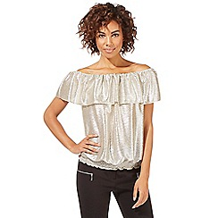 Star by Julien Macdonald - Gold ruffle Bardot top