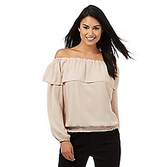 Star by Julien Macdonald - Beige long sleeved Bardot top