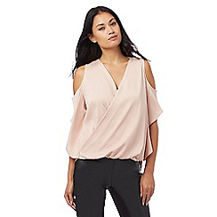 Star by Julien Macdonald - Light pink satin cold shoulder top