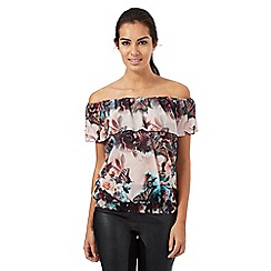 Star by Julien Macdonald - Multi-coloured floral butterfly print frilled neck top