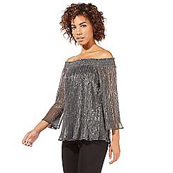 Star by Julien Macdonald - Silver plisse Bardot top