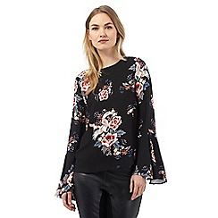 Star by Julien Macdonald - Black floral print bell sleeve top
