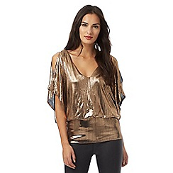 Star by Julien Macdonald - Gold textured cold shoulder bubble top